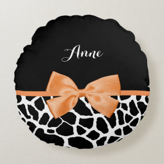 Girly Giraffe Print Orange Ribbon Bow With Name Round Pillow