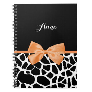 Girly Giraffe Print Orange Ribbon Bow With Name Spiral Notebook