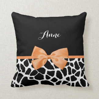 Girly Giraffe Print Orange Ribbon Bow With Name Throw Pillow