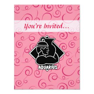 Girly Girl Aquarius Zodiac Sign Pink Swirls Card