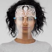 Girly-Girl Glam Gold Diamond Princess Crown Tiara Face Shield