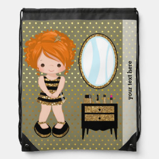Girly girl gold - choose background color drawstring backpack