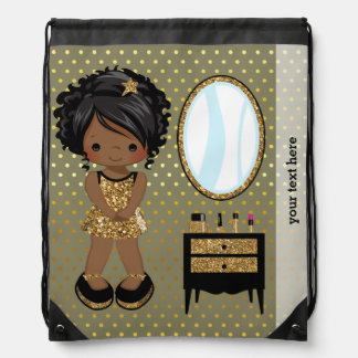 Girly girl gold - choose background color drawstring bag