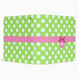 Girly Girl Green Pink Polka Dot Monogram Binder