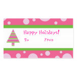 Girly Girl Happy Holidays Gift Tag Business Cards
