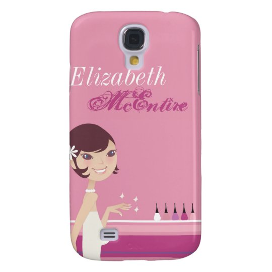 Girly Girl Nail Salon Personalized iPhone 3 Case