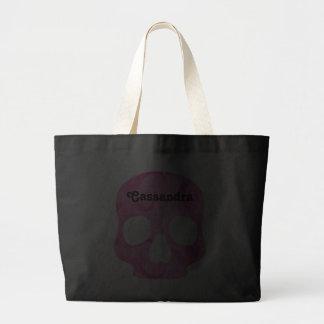 Girly girl pink elegant swirly skull tote bags
