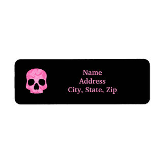 Girly girl pink elegant swirly skull label