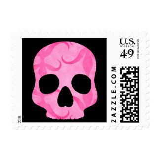 Girly girl pink elegant swirly skull postage stamp