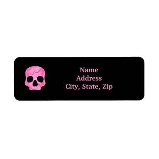 Girly girl pink elegant swirly skull return address label