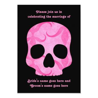Girly girl pink elegant swirly skull wedding card