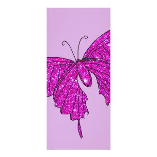 Girly Girl Pink Sparkle Glitter Butterfly Lilac Full Color Rack Card