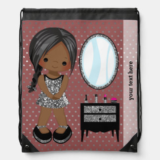 Girly girl silver - choose background color drawstring backpack