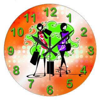 Girly girls fashion models clock