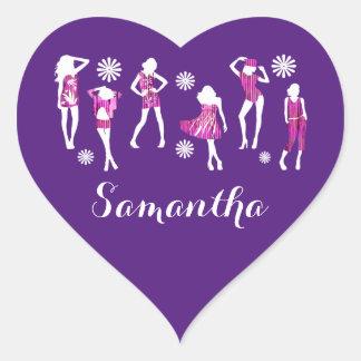 Girly girls fashion models heart sticker