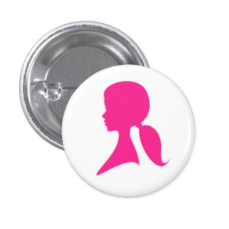 Girly girls hot pink profile silhouette button