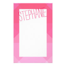 Girly Girly Pink Geometric Pattern Monogram Stationery