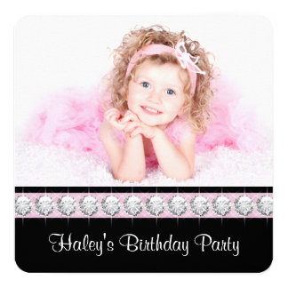 Girly Glam Birthday Party 5.25x5.25 Square Paper Invitation Card