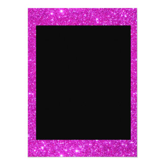 Girly Glam Black with Sparkly Pink Glitter Frame 5.5x7.5 Paper Invitation Card
