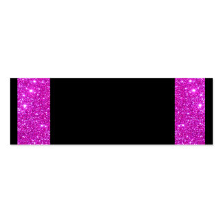 Girly Glam Black with Sparkly Pink Glitter Frame Double-Sided Mini Business Cards (Pack Of 20)