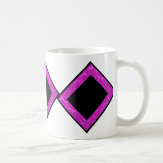 Girly Glam Black with Sparkly Pink Glitter Frame Coffee Mug