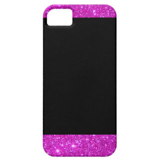 Girly Glam Black with Sparkly Pink Glitter Frame iPhone SE/5/5s Case