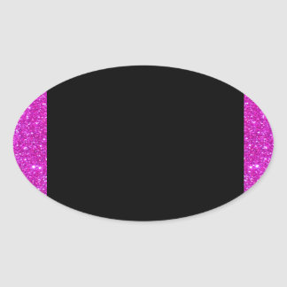 Girly Glam Black with Sparkly Pink Glitter Frame Oval Sticker