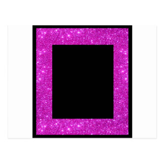 Girly Glam Black with Sparkly Pink Glitter Frame Postcard