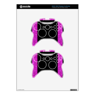 Girly Glam Black with Sparkly Pink Glitter Frame Xbox 360 Controller Skins