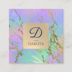 Girly Glam Branding   Gold Marble Pastel Ombre Square Business Card