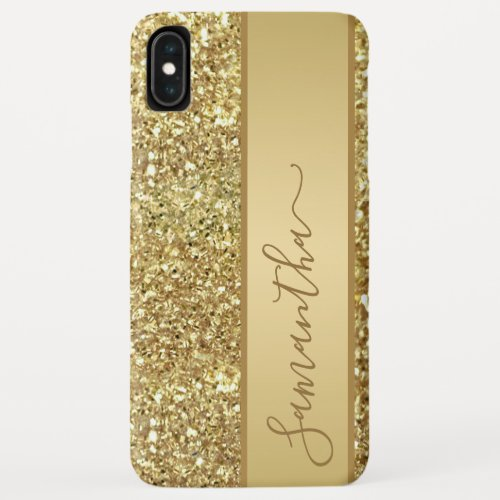 Girly Glam Gold Glitter Monogram Name Script Phone Case