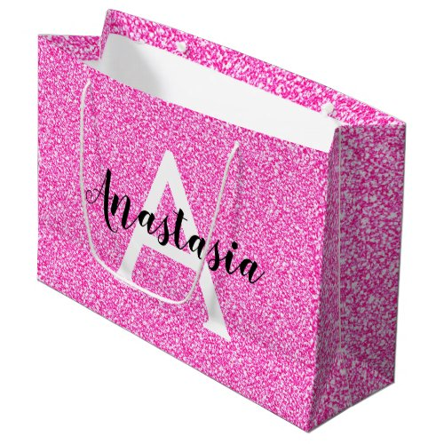 Girly Glam Hot Pink Glitter Sparkles Monogram Name Large Gift Bag