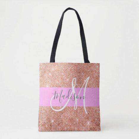 Girly Glam Pink Peach Gold Glitter Monogram Name Tote Bag
