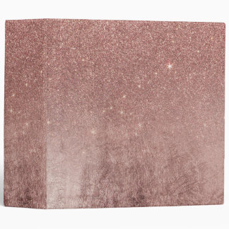 Girly Glam Pink Rose Gold Foil and Glitter Mesh 3 Ring Binder