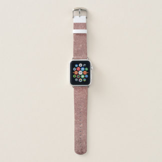 Girly Glam Pink Rose Gold Foil and Glitter Mesh Apple Watch Band