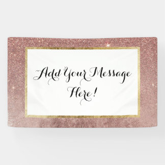 Girly Glam Pink Rose Gold Foil and Glitter Mesh Banner