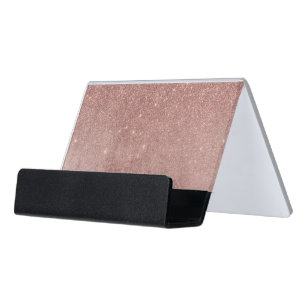 Rose gold business card holders zazzle girly glam pink rose gold foil and glitter mesh desk business card holder colourmoves