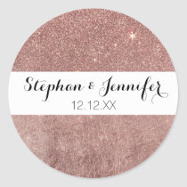 Girly Glam Pink Rose Gold Foil and Glitter Mesh Classic Round Sticker