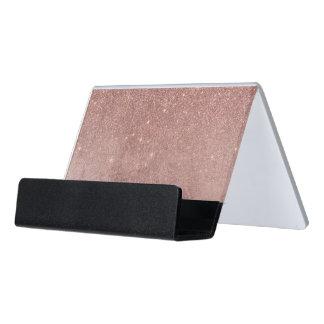 Girly Glam Pink Rose Gold Foil and Glitter Mesh Desk Business Card Holder