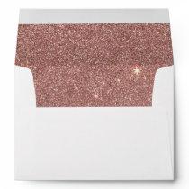 Girly Glam Pink Rose Gold Foil and Glitter Mesh Envelope