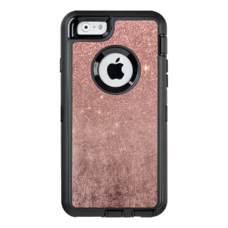 Girly Glam Pink Rose Gold Foil and Glitter Mesh OtterBox Defender iPhone Case