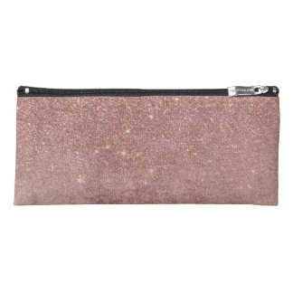 Girly Glam Pink Rose Gold Foil and Glitter Mesh Pencil Case