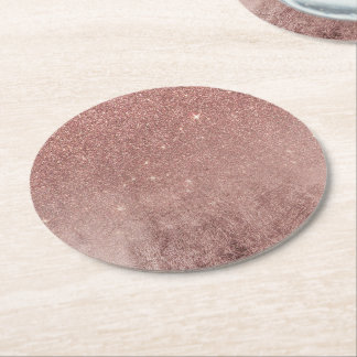 Girly Glam Pink Rose Gold Foil and Glitter Mesh Round Paper Coaster