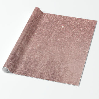 Girly Glam Pink Rose Gold Foil and Glitter Mesh Wrapping Paper