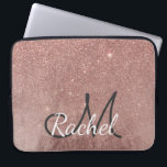 "Girly Glam Pink Rose Gold Foil Glitter Monogram Computer Sleeve<br><div class=""desc"">This girly and glamorous faux printed rose gold and glitter mesh is perfect for the trendy and stylish woman. Its chic and fashionable print is great for many gifts and occasions. Enjoy this faux sparkly and pretty print for your next purchase; for yourself, your friends, or your family! Just customize...</div>"