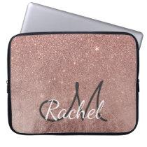 Girly Glam Pink Rose Gold Foil Glitter Monogram Computer Sleeve