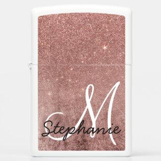 Girly Glam Pink Rose Gold Foil Glitter Monogram Zippo Lighter