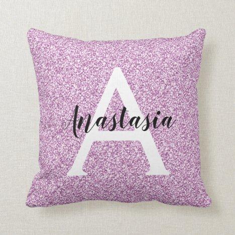 Girly Glam Purple Glitter Sparkles Monogram Name Throw Pillow