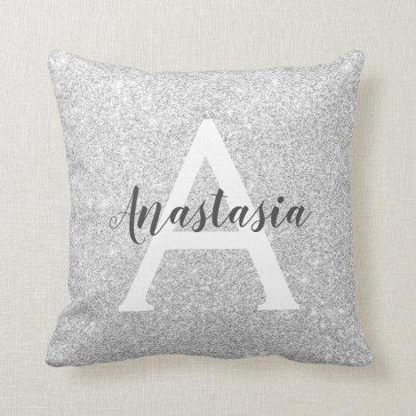 Girly Glam Silver Glitter Sparkles Monogram Name Throw Pillow