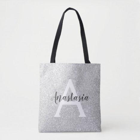 Girly Glam Silver Glitter Sparkles Monogram Name Tote Bag